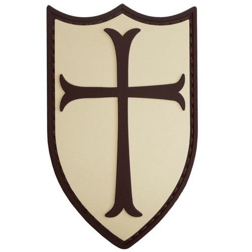 Crusader Cross Shield Rubber 3D Navy Seals Patch Tan & Brown Pvc Large