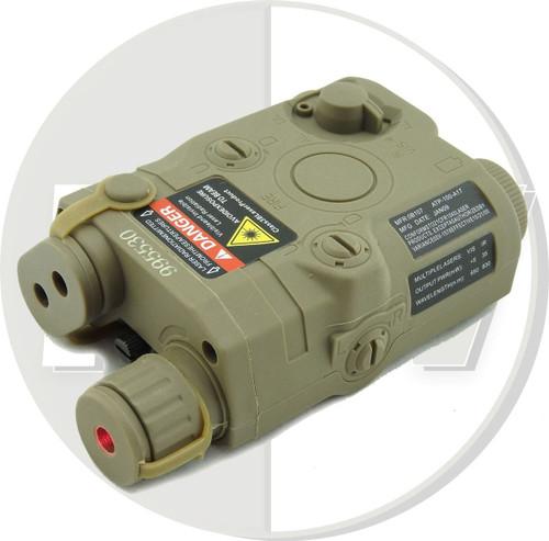 Dummy Peq15 Battery Box Case Tan De Lipo Nimh Aeg Ris Ras Rail + Red Laser