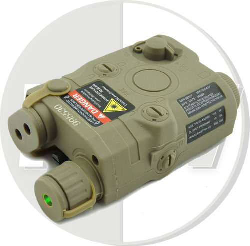 Dummy Peq15 Battery Box Case Tan De Lipo Nimh Aeg Ris Ras Rail + Green Laser