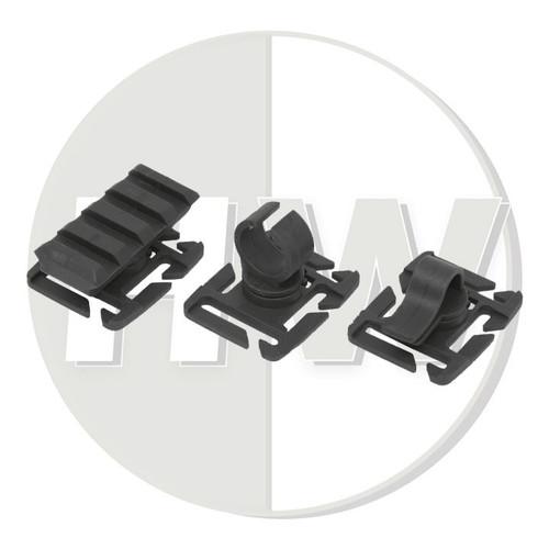 "Molle 1"" / 25Mm Webbing Adapters Set Black Clip Torch Rail Rig Vest"