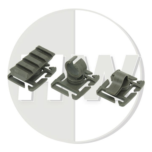 """Molle 1"""" / 25Mm Webbing Adapters Set Green Clip Torch Rail Rig Vest"""