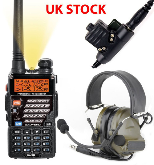 2 Way Radio Gift Set Kit Baofeng Uv-5R Headset Peltor Sordin Comtac Green