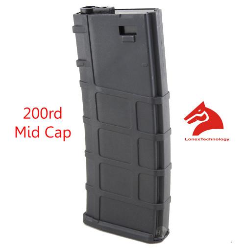 M4 M16 Scar Plastic Black Lonex P Magazine 200 Rds Asg Mid Cap