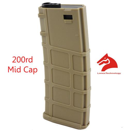 M4 M16 Scar Plastic Tan De Lonex P Magazine 200 Rds Asg Mid Cap