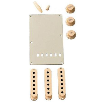 Fender Stratocaster Accessory Kit, Includes 3x Control Knob, Switch and Trem Arm Tips, Back Plate, 3x Pickup Cover, Aged White