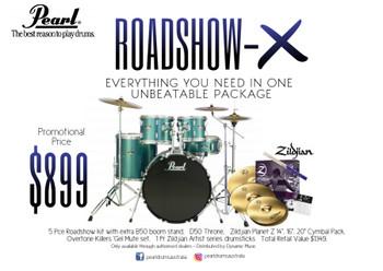 "Pearl Roadshow-X 22"" 5-PCS Fusion Plus Drum Kit PKG Charcoal Metallic"