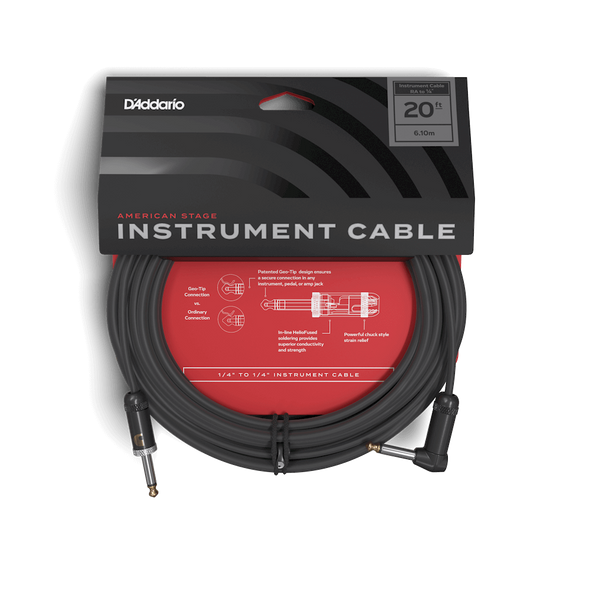 D'Addario Planet Waves American Stage Instrument Cable - Straight to Right 20ft
