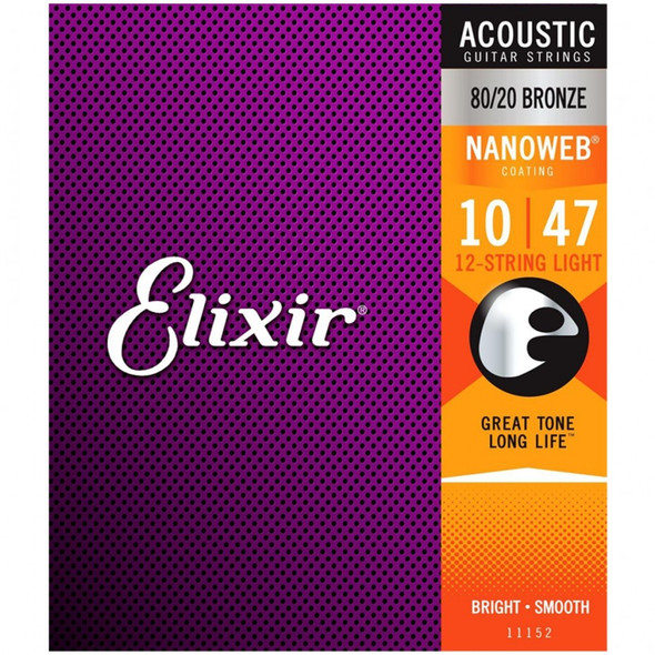 Elixir 12 String Acoustic Guitar Strings - 80/20 Bronze 10-47 Light Gauge