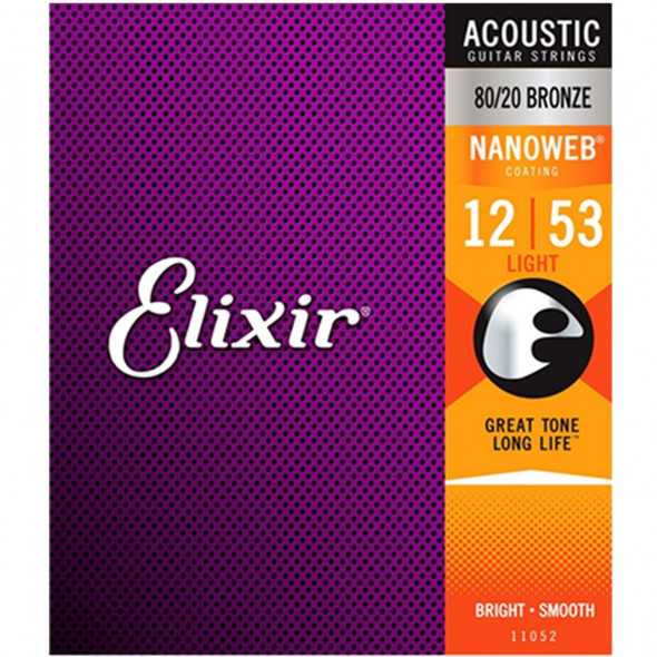 Elixir Acoustic Guitar Strings - 80/20 Bronze 12-53 Light Gauge