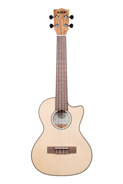 Kala Solid Spruce Spalted Maple Travel Tenor Electric Ukulele With Cutaway and EQ