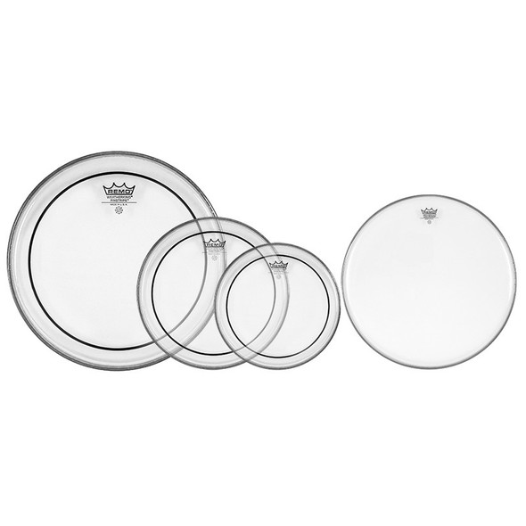 "Remo Pro Pack Pinstripe Drum Head Pack - 10"", 12"", 16"" Clear and 14"" Coated Ambassador Snare"