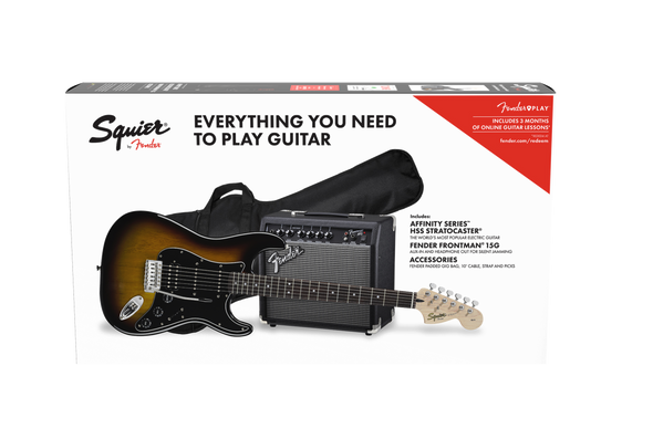 SQUIER AFFINITY SERIES™ STRATOCASTER® HSS Brown Sunburst Pack