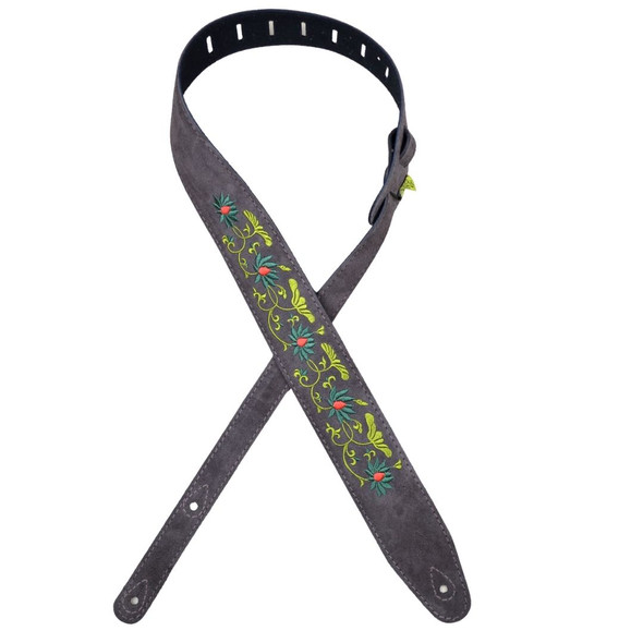 Colonial Leather Embroidered Brown Suede Guitar Strap - Flower and Leaves