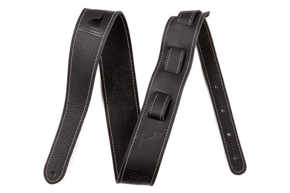 Fender Monogrammed Black Leather Guitar Strap