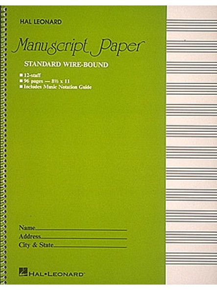 Manuscript Paper - Standard Wirebound (Green Cover)