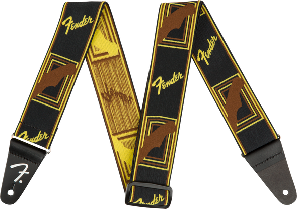 "Fender Weighless™ 2"" Mono Strap, Black/Yellow/Brown"