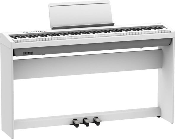 Roland FP-30X Portable Piano Keyboard Bundle - White with Stand and Triple Pedal Unit