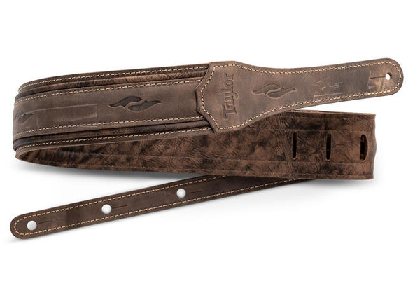"Taylor 2.5"" Element Distressed Leather Guitar Strap - Dark Brown"