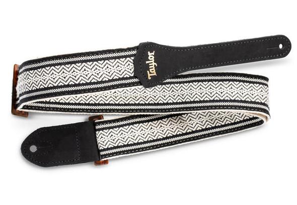 "Taylor 2"" Academy Jacquard Leather Guitar Strap - White/Black"