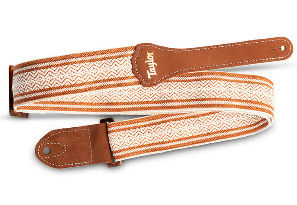 """Taylor 2"""" Academy Jacquard Leather Guitar Strap - White/Brown"""