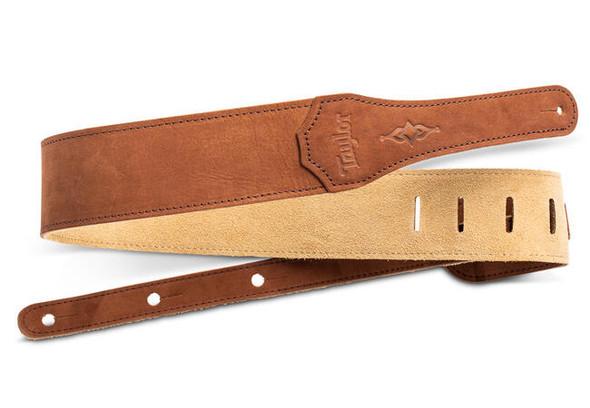 "Taylor Gemstone 2.5"" Sanded Leather Guitar Strap - Medium Brown"