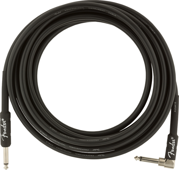 Fender Professional Series Instrument Cables, Straight/Angle, 15', Black