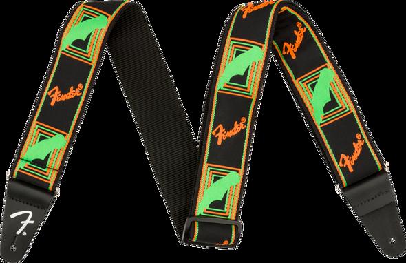 Fender Neon Monogrammed Strap, Green/Orange