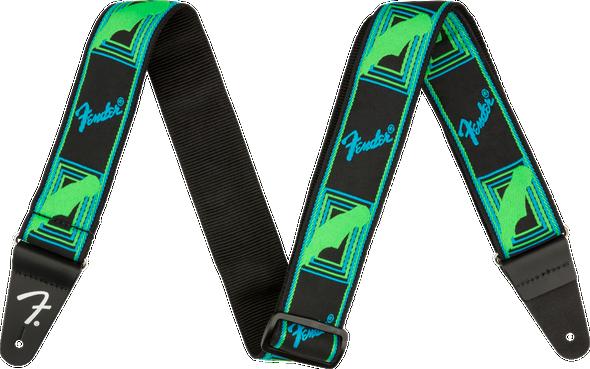Fender Neon Monogrammed Strap, Green/Blue