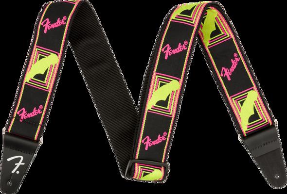 Fender Neon Monogrammed Strap, Yellow/Pink