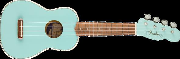 Fender Venice Soprano Uke, Walnut Fingerboard, Daphne Blue