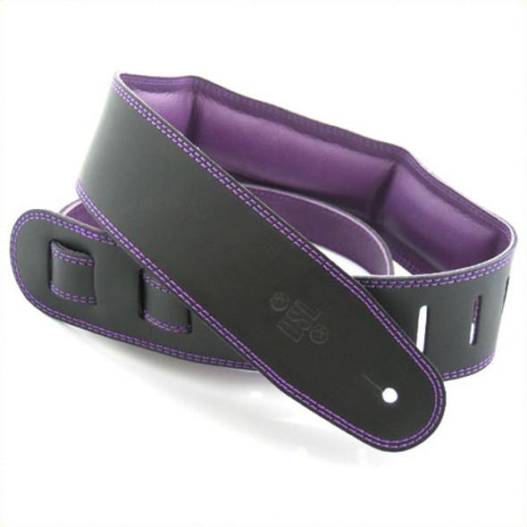 "DSL 2.5"" Padded Garment Black/Purple Guitar Strap"