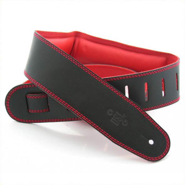 "DSL 2.5"" Padded Garment Black/Red Guitar Strap"
