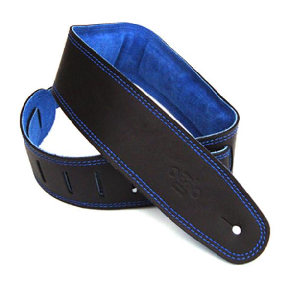 """DSL 2.5"""" Padded Suede Black/Blue Guitar Strap"""