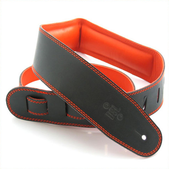 "DSL 2.5"" Padded Garment Black/Orange Guitar Strap"