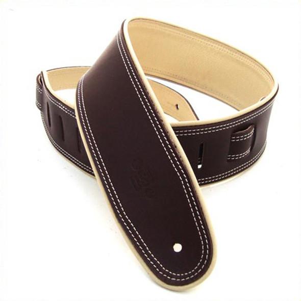 """DSL 2.5"""" Rolled Edge Saddle Brown/Beige Guitar Strap"""