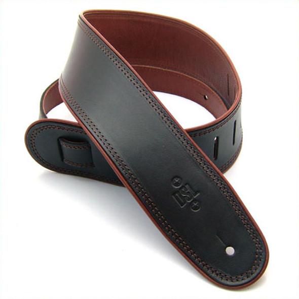 "DSL 2.5"" Rolled Edge Black/Brown Guitar Strap"
