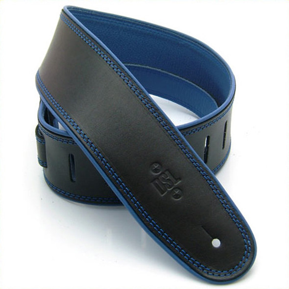 """DSL 2.5"""" Rolled Edge Black/Blue Guitar Strap"""