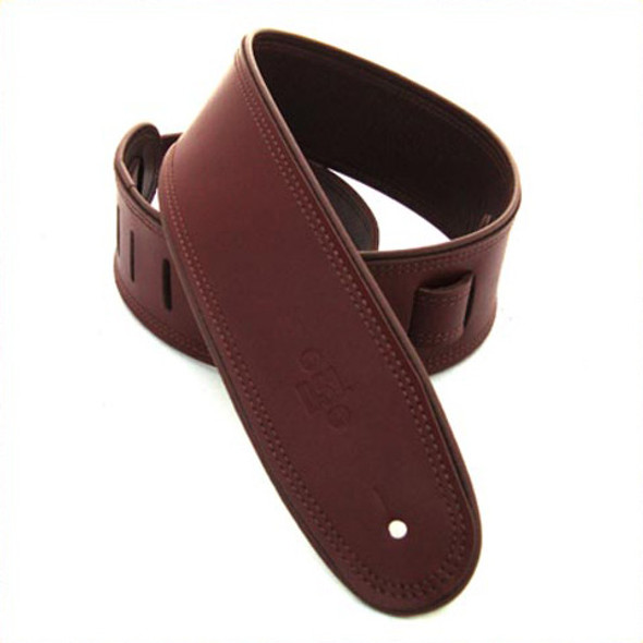 """DSL 2.5"""" Rolled Edge Maroon/Brown Guitar Strap"""