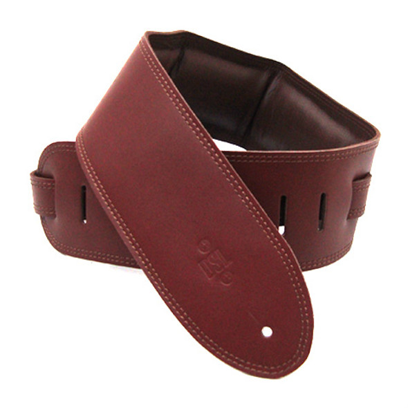 "DSL 3.5"" Padded Garment Maroon/Brown Guitar Strap"