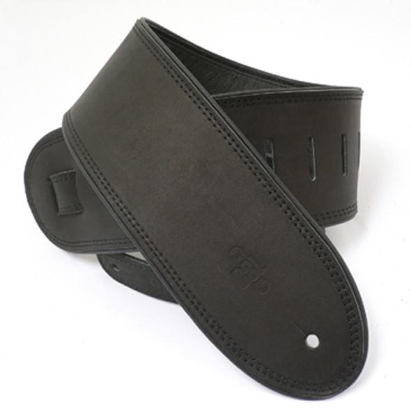 """DSL 3.5"""" Rolled Edge Black/Black Guitar Strap"""