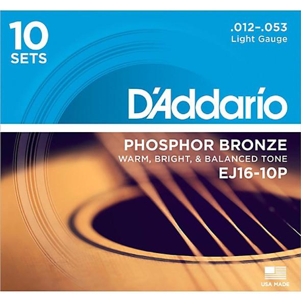 D'Addario EJ16-10P Phosphor Bronze 12-53 10-Pack