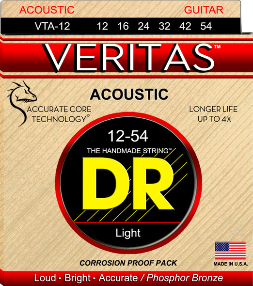 DR Veritas Acoustic Strings 12-54 Light