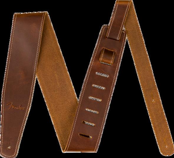"Fender Broken-In Leather Strap, Tan 2.5"""
