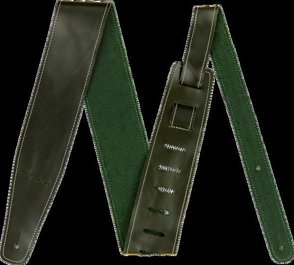 "Fender Broken-In Leather Strap, Green 2.5"""