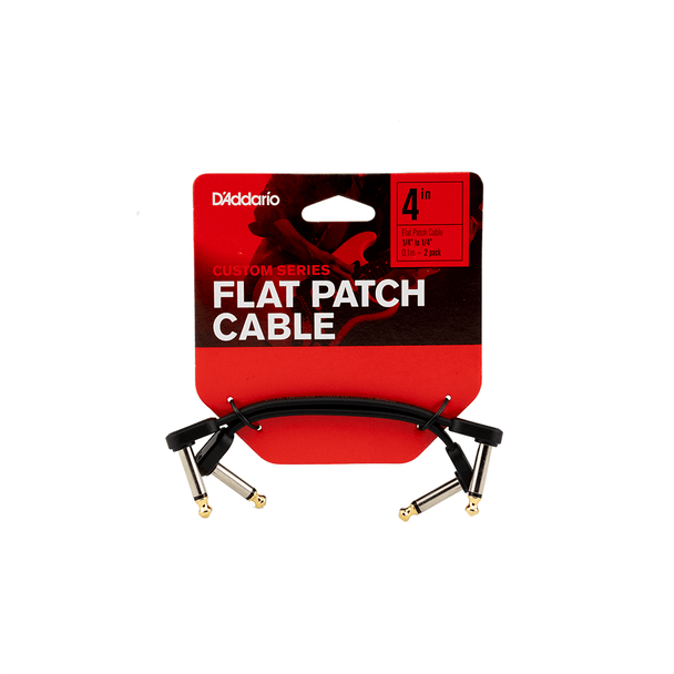 D'Addario Custom Series Flat Patch Cables, 4in - 2 Pack