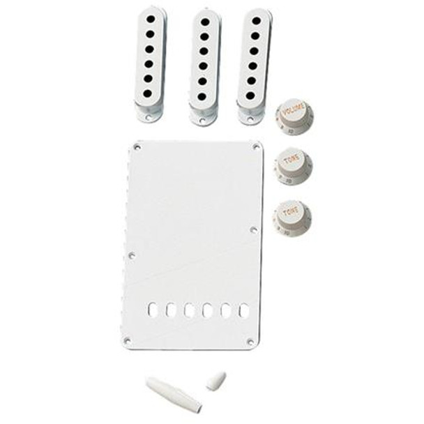 Fender  Fender Vintage-Style Stratocaster Accessory Kit, Includes 3x Control Knob, Switch and Trem Arm Tips, Back Plate, 3x Pickup Cover, Aged White