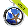 This blue sea glass locket with starfish has been sold!