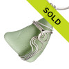 Large Light Olive Green Sea Glass In Sterling Waves Setting Pendant for Necklace