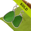 Stunning vivid emerald green sea glass pieces set in our Original Wire Bezel© earrings setting. This style leaves our sea glass totally natural, just the way it was found on the beach.