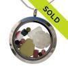 October  Birthstone- Genuine Sea Glass Locket With Sandollar & Real Tourmaline